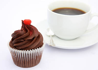 Tempting Chocolate Cupcake Snack With Coffee Poster by Rosemary Calvert