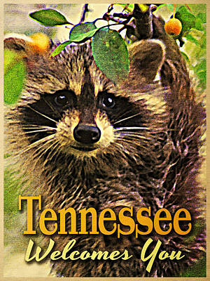 Tennessee Racoon Poster by Flo Karp
