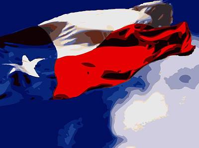 Texas Flag In The Wind Color 16 Poster by Scott Kelley