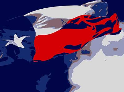 Texas Flag In The Wind Color 6 Poster by Scott Kelley