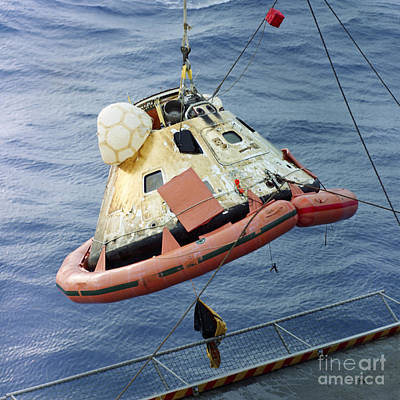 The Apollo 8 Capsule Being Hoisted Poster by Stocktrek Images