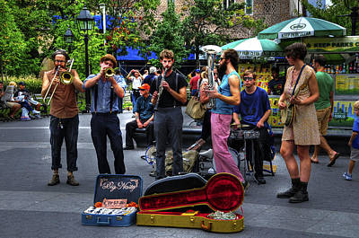 The Band Big Nasty From Asheville Performing In Washington Square Park Poster by Randy Aveille