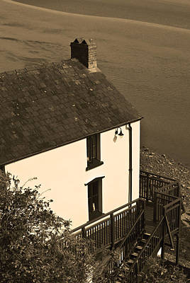 The Boathouse At Laugharne Sepia Poster by Steve Purnell