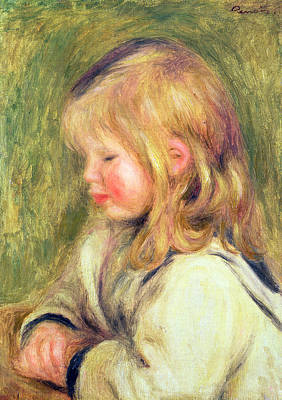 The Child In A White Shirt Reading Poster by Pierre Auguste Renoir