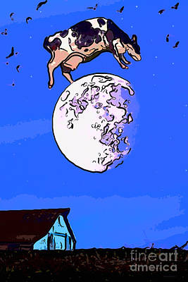 The Cow Jumped Over The Moon Again Poster by Wingsdomain Art and Photography