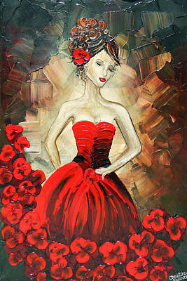 The Dancer In The Red Dress Poster by Christine Krainock