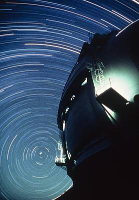 The Dome Of The Keck Telescope And Star Trails Poster by Dr Fred Espenak