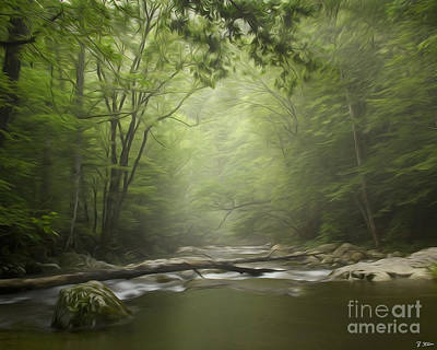 The Middle Prong River In Fog Poster by Smokey Mountain  Art