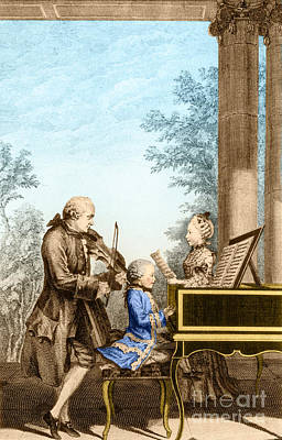 The Mozart Family On Tour 1763 Poster by Photo Researchers