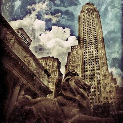 Poster featuring the photograph The Resting Lion - Nyc by Joel Lopez