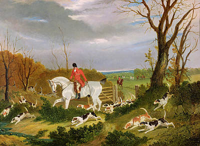 The Suffolk Hunt - Going To Cover Near Herringswell Poster by John Frederick Herring Snr