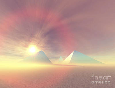 The Sun Rises On Egyptian Pyramids Poster by Corey Ford