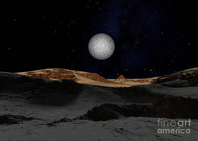 The Surface Of Pluto With Charon Poster by Ron Miller
