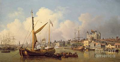 The Thames And The Tower Of London Supposedly On The King's Birthday Poster by Samuel Scott