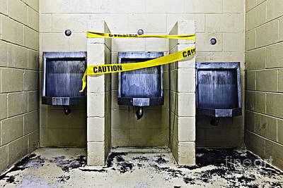 Three Public Urinals In Disrepair Poster by Skip Nall