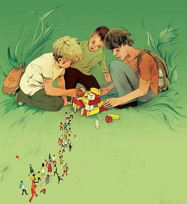 Three School Children Playing Poster by Maya Shleifer