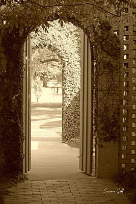 Through The Garden Gate In Sepia Poster by Suzanne Gaff