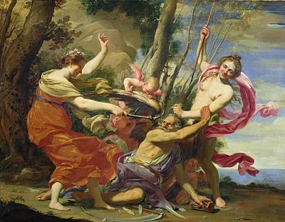 Time Overcome By Youth And Beauty Poster by Simon Vouet