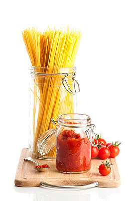 Tomatoes Sauce And  Spaghetti Pasta  Poster by Amanda Elwell