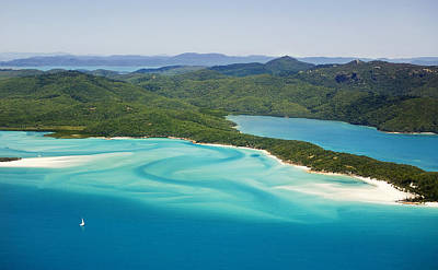 Tongue Point And Whitehaven Beach In Whitsunday Islands National Park, Queensland, Australia Poster by Peter Walton Photography