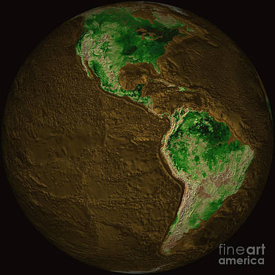 Topographic Map Of Earth Poster by Stocktrek Images