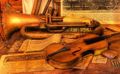 Trumpet And Stradivarius At Rest - Violin - Nostalgia - Vintage - Music -instruments  Poster by Lee Dos Santos