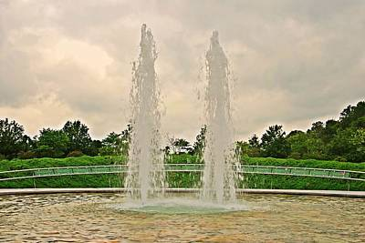 Twin Fountains - Garden Of Reflection Poster by Angie Tirado