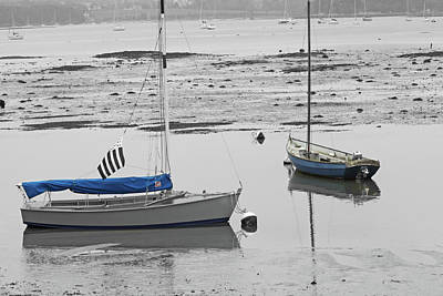 Two Boats At Low Tide Poster by Pam Blackstone