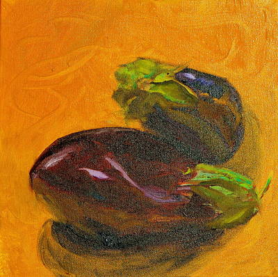 Two Eggplants Poster by Beverley Harper Tinsley
