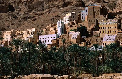 Typical Hadramawt Village With Date Plantation In Foreground, Wadi Daw'an, Yemen Poster by Frances Linzee Gordon