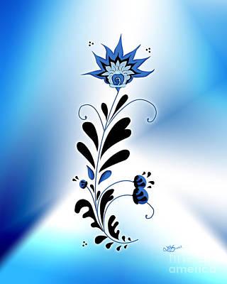 Une Fleur Tribale Bleue Poster by Linda Seacord