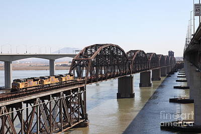 Union Pacific Locomotive Trains Riding Atop The Old Benicia-martinez Train Bridge . 5d18849 Poster by Wingsdomain Art and Photography