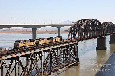 Union Pacific Locomotive Trains Riding Atop The Old Benicia-martinez Train Bridge . 5d18850 Poster by Wingsdomain Art and Photography