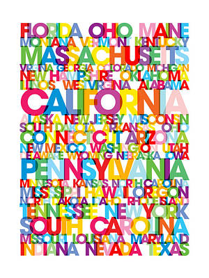 United States Usa Text Bus Blind Poster by Michael Tompsett