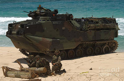 U.s. Marines Guard Their Amphibious Poster by Stocktrek Images