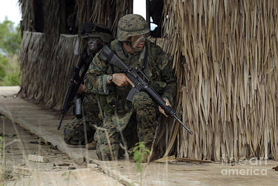 U.s. Marines Prepare To Enter A House Poster by Stocktrek Images