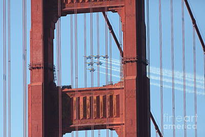 Us Navy Blue Angels Beyond The San Francisco Golden Gate Bridge - 5d18954 Poster by Wingsdomain Art and Photography