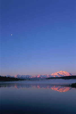 Usa, Alaska, Mount Mckinley As Seen From Wonder Lake After Sunrise Poster by Paul Souders