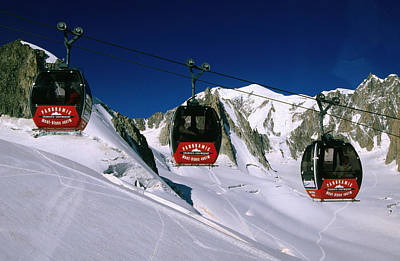 Valle Blanche Aerial Tramway Cabins, Rhone-alpes, France, Europe Poster by John Elk III