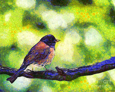 Van Gogh.s Little Chickadee Perched On A Branch . 7d6397 Poster by Wingsdomain Art and Photography
