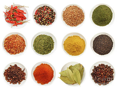 Variety Of Different Spices IIn Bowls  Poster by Sandra Cunningham