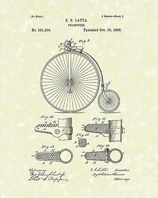 Velocipede Latta 1888 Patent Art Poster by Prior Art Design