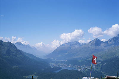 View Of The Engadin Valley And St Poster by Taylor S. Kennedy
