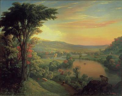 View Of The Mohawk Near Little Falls Poster by Mannevillette Elihu Dearing Brown