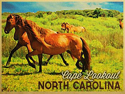 Vintage Cape Lookout North Carolina Poster by Flo Karp