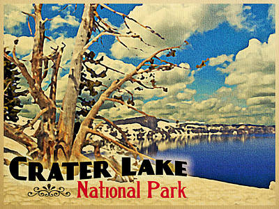 Vintage Crater Lake Snow Scene Poster by Flo Karp