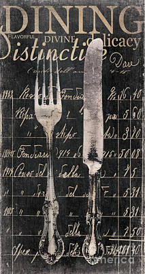 Vintage Dining Utensils In Black  Poster by Grace Pullen