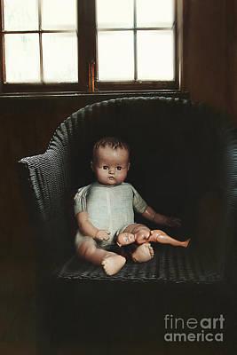 Vintage Dolls On Chair In Dark Room Poster by Sandra Cunningham