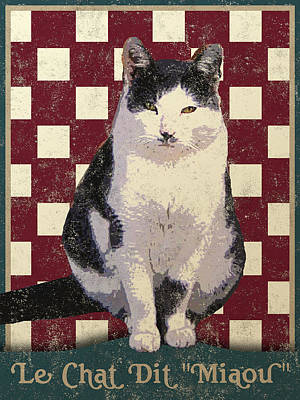 Vintage French Bistro Cat Poster by Flo Karp