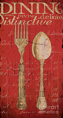 Vintage Kitchen  Utensils In Red Poster by Grace Pullen